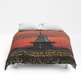 The deZwaan Dutch Windmill at Sunset Comforters