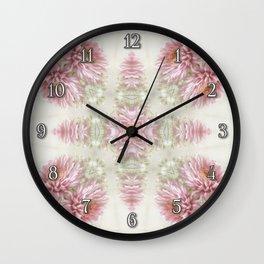 Pink Chrysanthemums Kaleidoscope Art 1 Wall Clock
