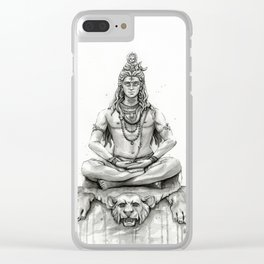 Lord Shiva Painting, Shiva Art, Meditation Shiva Portrait Clear iPhone Case