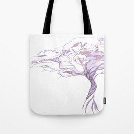 Quiet Acacia Zen Tree , Earthy African Bonsai Peace Lavendar Purple Tote Bag