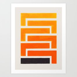 Orange Inca Braid Minimalist Geometric Pattern Mid Century Modern Watercolor Painting Art Print