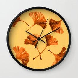 Orange Ginkgo Wall Clock