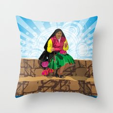 Paisana in Titicaca Lake, Puno, Perú Throw Pillow