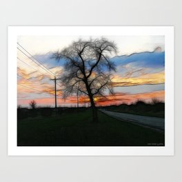The Sunset Into Watercolor Art Print