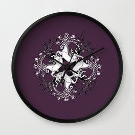 Celtic or Viking Deer Pattern - Plum Purple Wall Clock