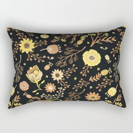 Golden Florals Rectangular Pillow