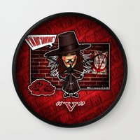 vendetta Wall Clocks featuring V for Vendetta by Emanpris Artcore