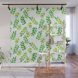 Watercolor palm leaves illustration Wall Mural