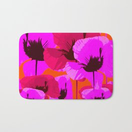 Pink And Red Poppies On A Orange Background - Summer Juicy Color Palette Retro Mood #decor #society6 Bath Mat