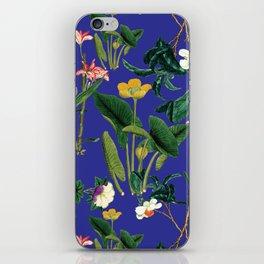 Vintage wild flowers blue iPhone Skin