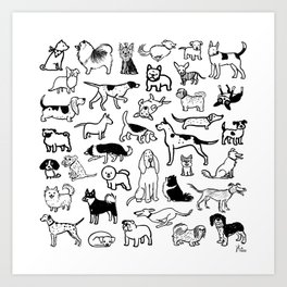 Black and White Dog Drawings | Cute Dog Breeds Pattern Art Print