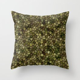 Seaweed and Juniper Cobbled Patchwork Terrazo Pattern Throw Pillow