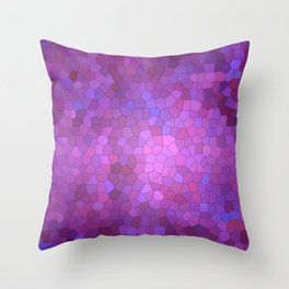 Abstract Stained glass violet mosaic Throw Pillow