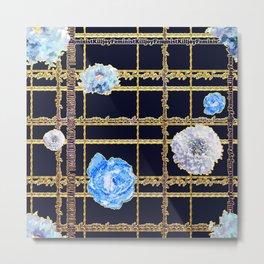 Beautiful Gold and Blue Floral Feminist Killjoy Tartan Metal Print