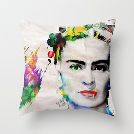 Bright Artist of The Century Frida Poster Print by Robert R Throw Pillow