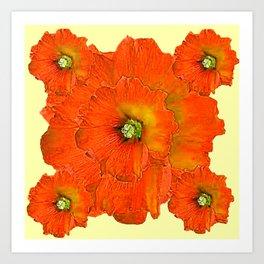 ORANGE DOUBLE  HOLLYHOCK FLOWERS YELLOW GARDEN Art Print
