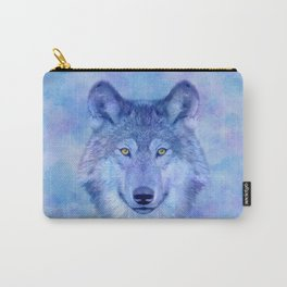 Sky blue wolf with Golden eyes Carry-All Pouch