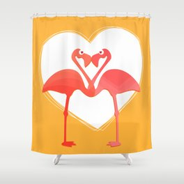 lovebirds - flamingos in love Shower Curtain