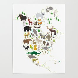 Map of North America with Animals bison bat manatee fox elk horse wolf partridge seal Polar bear Poster