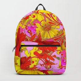 AWESOME RED AMARYLLIS & YELLOW COREOPSIS RED ABSTRACT GARDEN Backpack