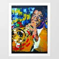 louis armstrong Art Prints featuring Louis Armstrong by Phil Fung