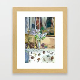 flowers and candles Framed Art Print