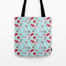 Retro blue and red pattern Tote Bag