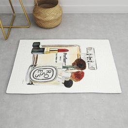 Watercolor Make up set, perfume bottle, red lipstick and brushes by Amanda Greenwood Rug