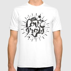 Let Love Grow White Mens Fitted Tee MEDIUM