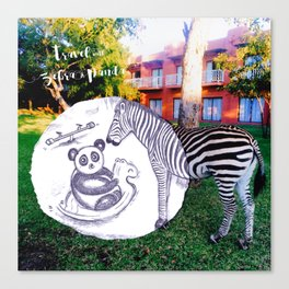 Travel with Zebra and Panda Canvas Print