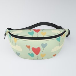 Heart Balloons above the Clouds Fanny Pack