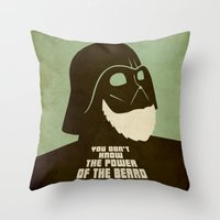 nfl Throw Pillows featuring Beard Vader by Beardy Graphics