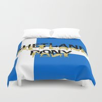 pony Duvet Covers featuring Shetland Pony by mailboxdisco