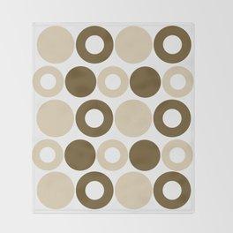 Brown Circles, Tan Dots, Pattern, Digital Design Throw Blanket