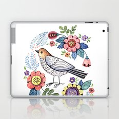 Romantic singing bird with flowers Laptop & iPad Skin