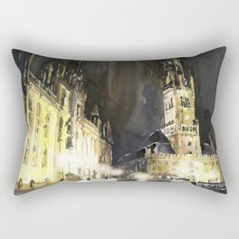 Belfry of Bruges  medieval bell tower in the centre of Bruges, Belgium.  Watercolor painting Rectangular Pillow