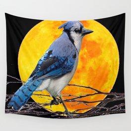 BLUE JAY & GOLDEN MOON LIGHT ABSTRACT Wall Tapestry