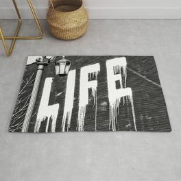Life- Love of Life street graffiti mosaic inspirational black and white photograph / photography  Rug