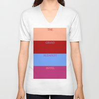 the grand budapest hotel V-neck T-shirts featuring Grand Budapest minimalist poster by cinemaminimalist