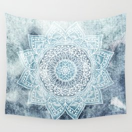 DEEP BLUE MANDALA Wall Tapestry
