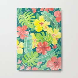 Tropical garden, hibiscus plumeria and palm leaves Metal Print