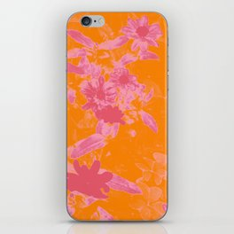 Floral trio tone photograph with orange and pinks iPhone Skin