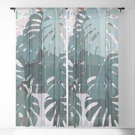 leaves+terrazzo Sheer Curtain