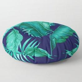 HAWAIIAN GARDEN TROPICAL LEAVES | turquoise navy Floor Pillow