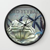 "haunted mansion Wall Clocks featuring Disneyland Haunted Mansion inspired ""Old FlyBait""  by ArtisticAtrocities"