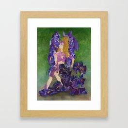 Fairy of the Japanese Purple Iris Flower Framed Art Print