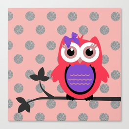 Owl with Hair Bow Silver Glittery Circles Canvas Print