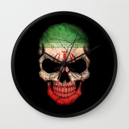 Dark Skull with Flag of Iran Wall Clock