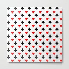 curly heart card red black gambling game player Metal Print