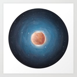 Solar System: Mars with Phobos and Deimos orbiting around. Art Print